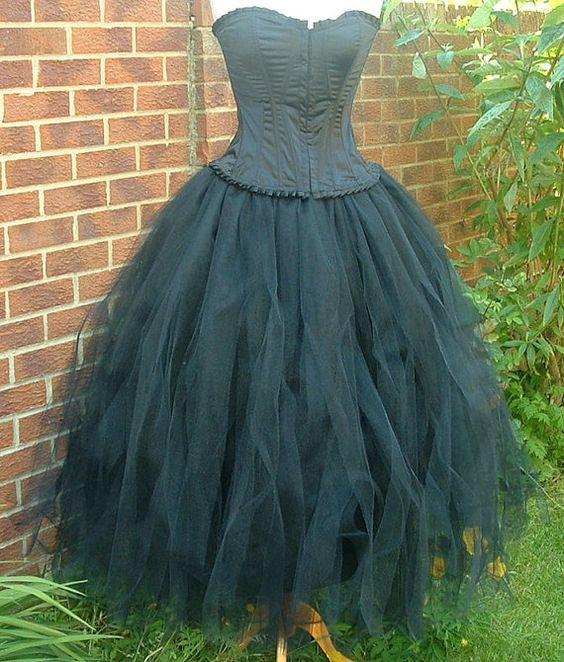 handmade womens ladies adult tutu skirt long black tulle goth dance bridal prom victorian ballet  US size 6 8 10 12 14 16 18 20   S M L XL on Etsy, $80.00