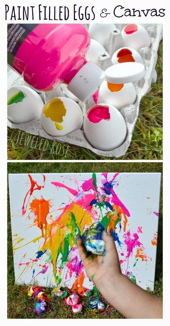 Fill empty egg shells with paint and toss them at canvas.  SO FUN and filling the eggs is so easy!