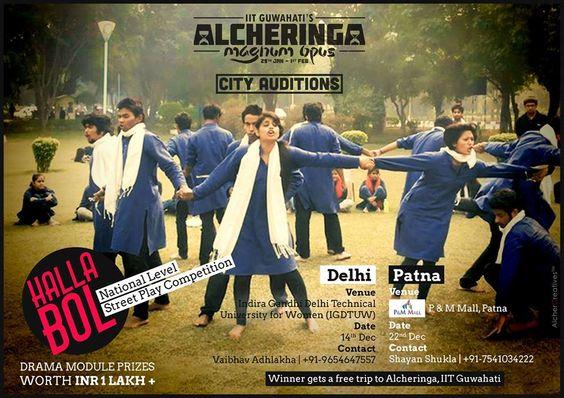 आईआईटी गुवाहटी के तत्वाधान में होने वाले वार्षिक सांस्कृति समारोह Alcheringa के ऑडीशन रविवार से शुरू हो रहे है। ऑडीशन के दौरान Alcheringa की टीम देश के 6 महानगरों से ऑडीशन लेगी।।सबीमत की यह ऑडीशन यात्रा दिल्ली  , जयपुर, हैदराबाद, पटना, कोलकाता, भोपाल होते हुए निकलेगी। - See more at: http://lnn.co.in/index.php/lnn-city/