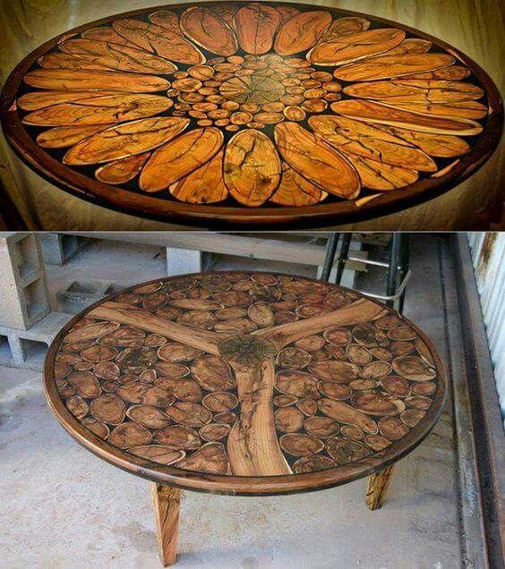 Wood Slice Mosaic Tables Mosaics Pinterest Mosaici