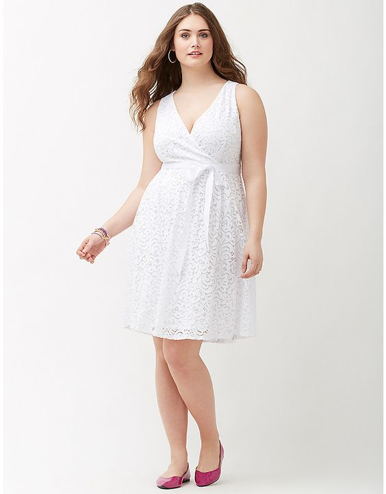 Lane bryant lace v neck fit flare dress with bow in for Lane bryant wedding dress