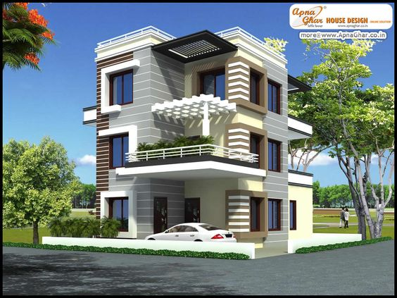 5 bedroom modern triplex 3 floor house design area for Triplex plans