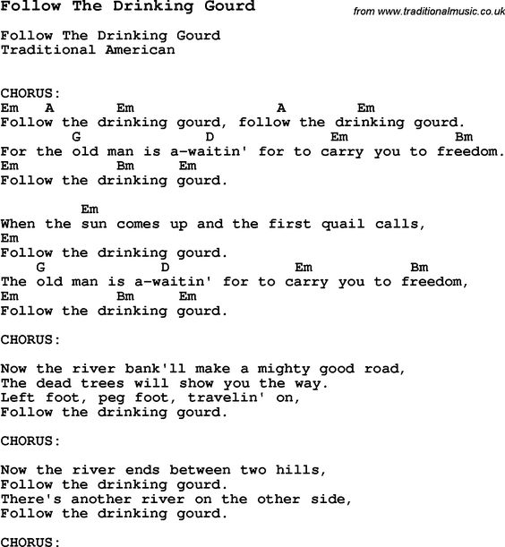 Printables Follow The Drinking Gourd Worksheets traditional lyrics and songs on pinterest song follow the drinking gourd with chords tabs lyrics