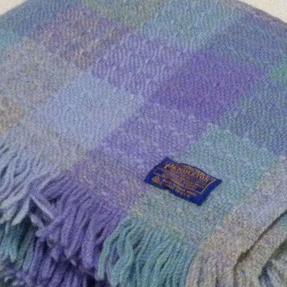 "Pendleton Blue Pink Plaid 100 Wool Stadium Fringed Throw Blanket 52"" x 65"" | eBay"
