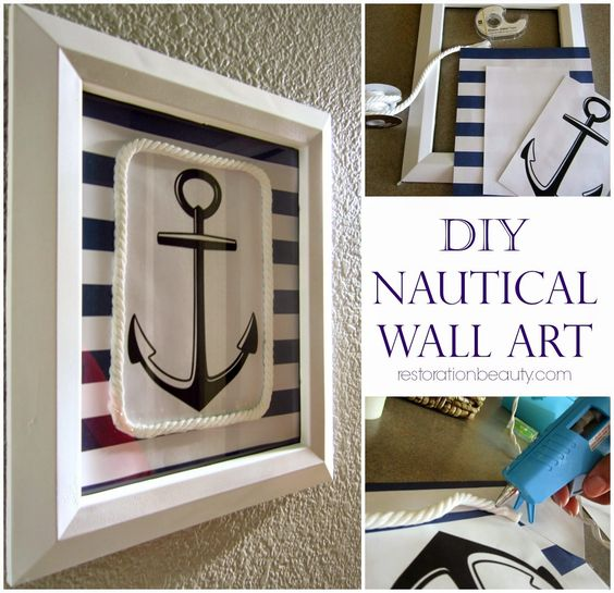 DIY Nautical Wall Art Turquoise Summer And Anchors