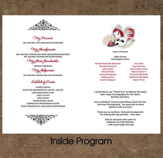 sweet sixteen program template - quinceanera program an idea to put on the table with the