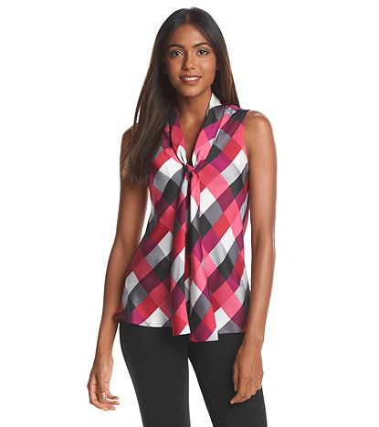 Nine West Checkered Bow Blouse