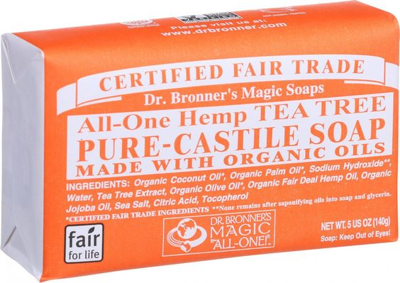 Dr. Bronner's Pure Castile Soap - Fair Trade And Organic - Bar - All One Hemp - Tea Tree - 5 Oz