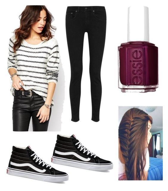"""School outfit"" by ravekait ❤ liked on Polyvore featuring ONLY, rag & bone, Essie, Vans, women's clothing, women's fashion, women, female, woman and misses"