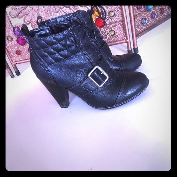 Black booties Sexy black heeled booties! Perfect for a girls night out! Slight scuff on one heel as shown but otherwise in great condition! Solesenseability Shoes Ankle Boots & Booties
