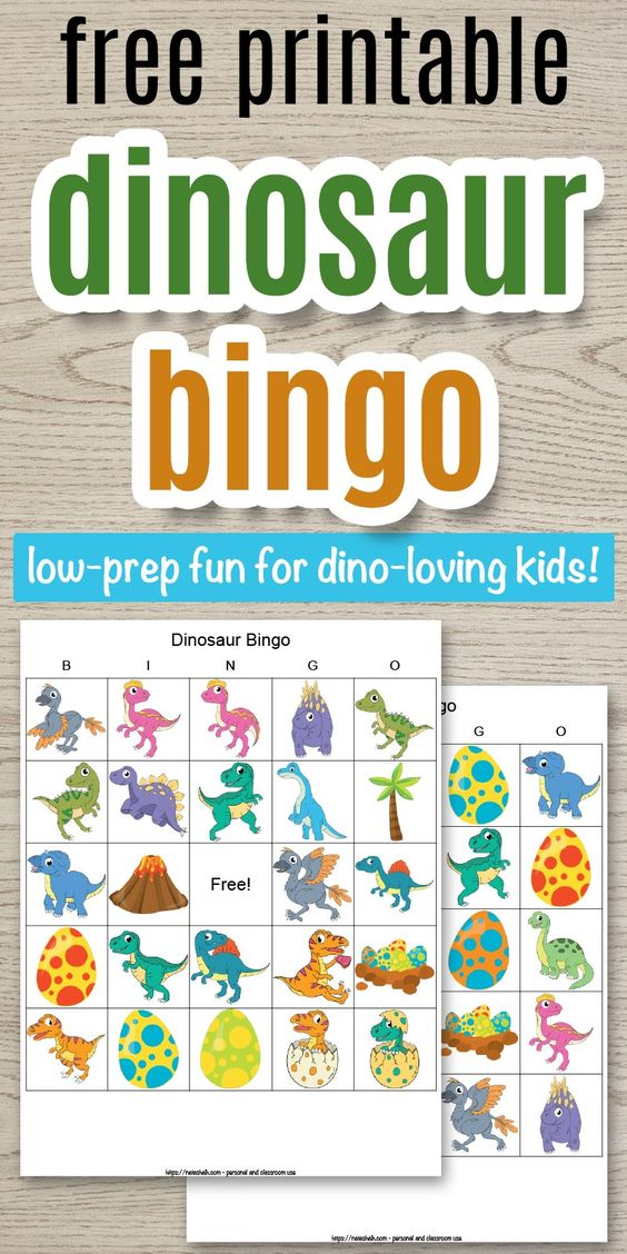 This free printable dinosaur bingo is such a fun dinosaur party activity! It's also an easy indoor activity for kids at home. Dino bingo is fun for kids of all ages from preschool on up. Get your free printable dinosaur bingo cards and get ready for a roar-some dino bingo game. Click through to download today! You can get 14 bingo cards for FREE.