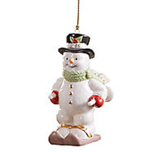 Limited Edition Luxury Christmas Ornaments: Lenox 2016 Annual Skiing Snowman Ornament Figurine Poles