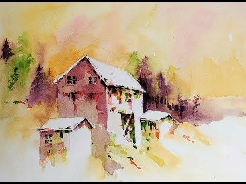 Transparent Watercolor Negative Painting Demonstration Farm