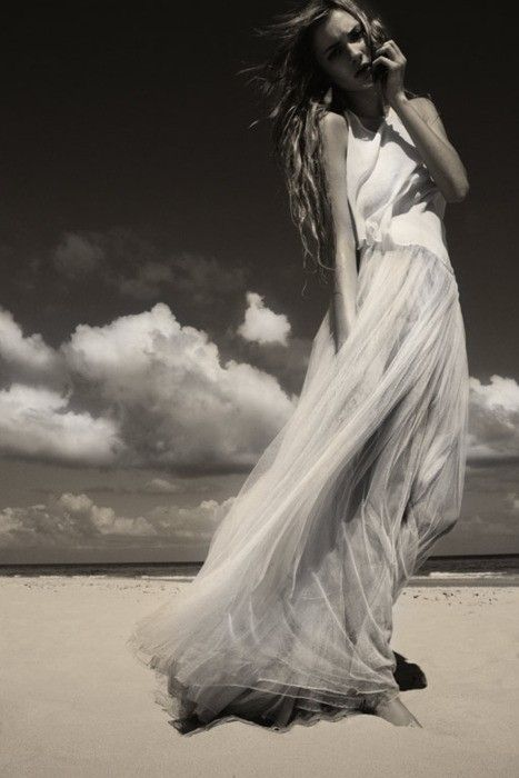 girl, young, beach, ocean, clouds, long hair