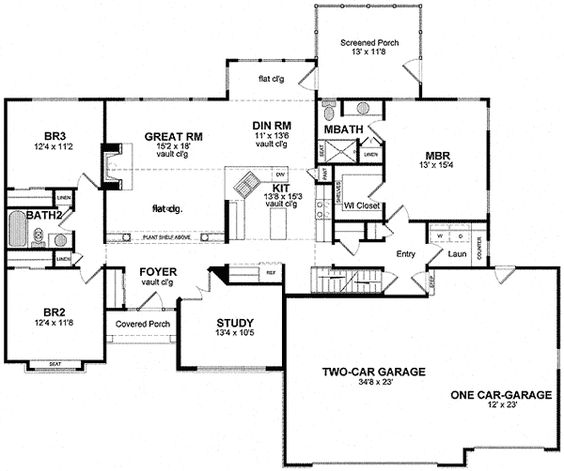 Plan 19531JF Private Study and Bonus Room Traditional House