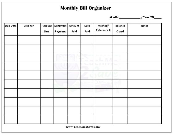 Printables Bill Organizer Worksheet food reviews search and travel on pinterest free printable monthly bill organizer httpteachme2save com2014