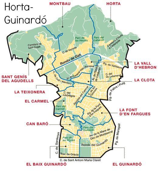 Horta Guinardó District Map Barcelona Ultimas Tardes Con Teresa
