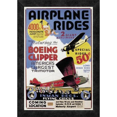 Global Gallery 'Airplane Rides: Inman Bros. Flying Circus' Framed Vintage Advertisement Size: