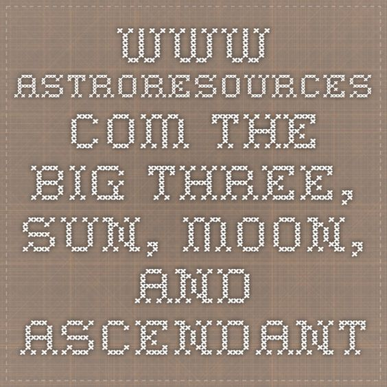www.astroresources.com - the big three, Sun, Moon, and Ascendant