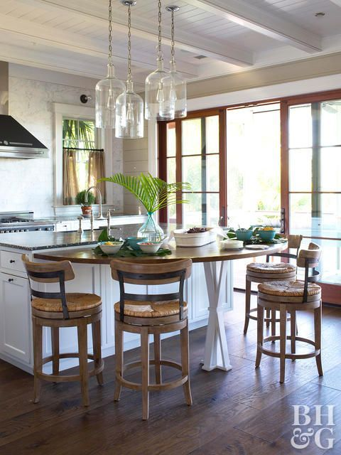 Kitchen With Hanging Lights High Chairs And French Doors Kitchen Island Table Kitchen Patio Doors Kitchen Remodel