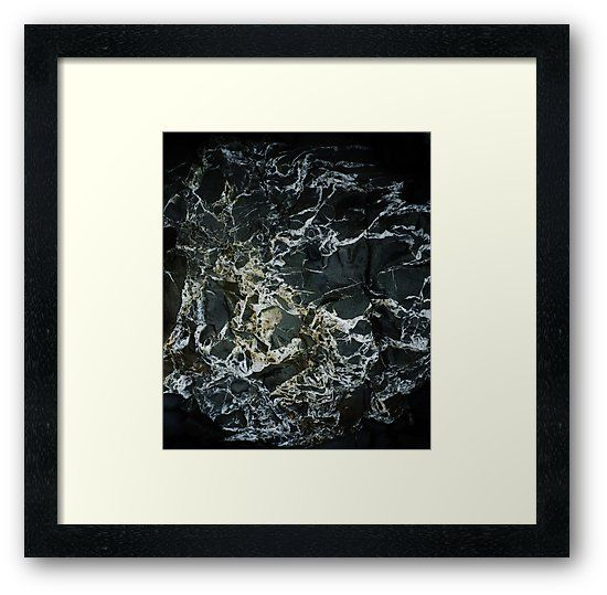 Black Marble Rock With Quartz Crystal Veins Abstract Framed Print By Richard Brookes Framed Art Prints Frame Marble Rock