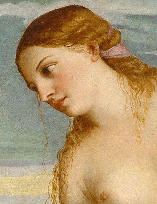 Detalle de la cabeza de Venus en Amor sacro y amor profano de Tiziano