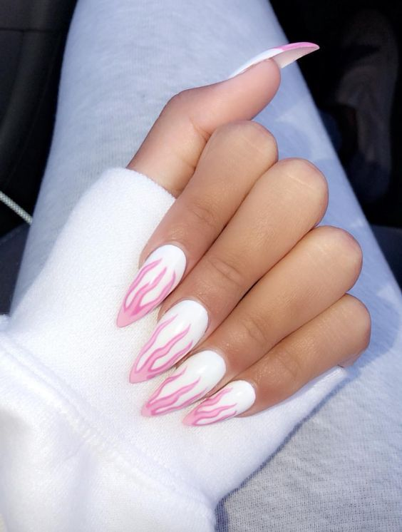 Rt Thebestnailart Pink Flame Nails Http Pic Twitter Com Voqf099pjg Fire Nails Trendy Nails Nails Inspiration