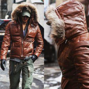 Mens Badass Hooded Down Leather parka- Jacket - Guylook ($500-5000