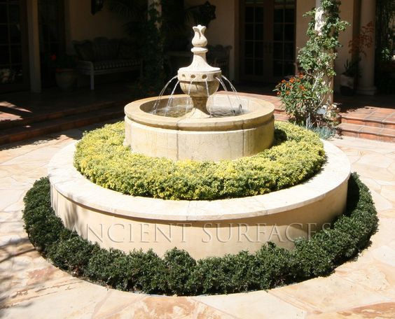 landscaping around fountains   mediterranean landscape by Ancient Surfaces