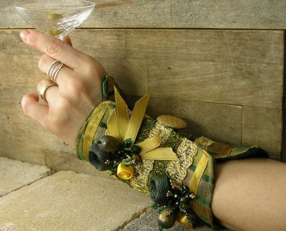 arm cuff in dark green and gold repurposed brocade ribbon buttons satin roses beads victorian romantic steampunk tbteam therougett