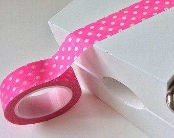 Summer Neon Pink & White Polka Dot Washi Tape - 15mm x 10m roll