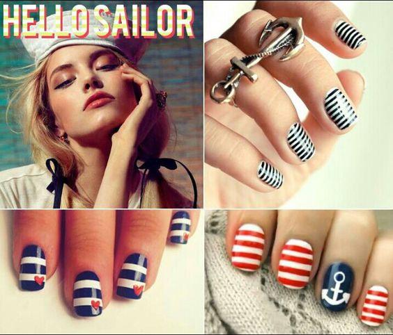 Sailor nails...too cute