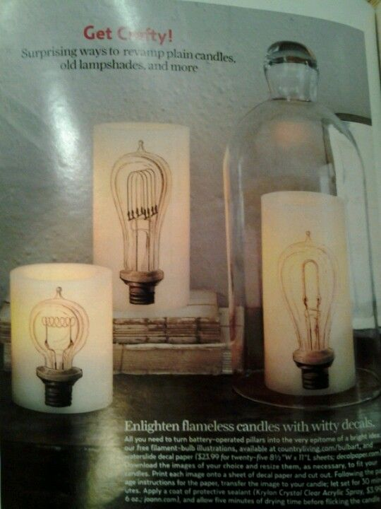Make boring flameless candles less boring, using decal paper and clipart at countryliving.com/bulbart