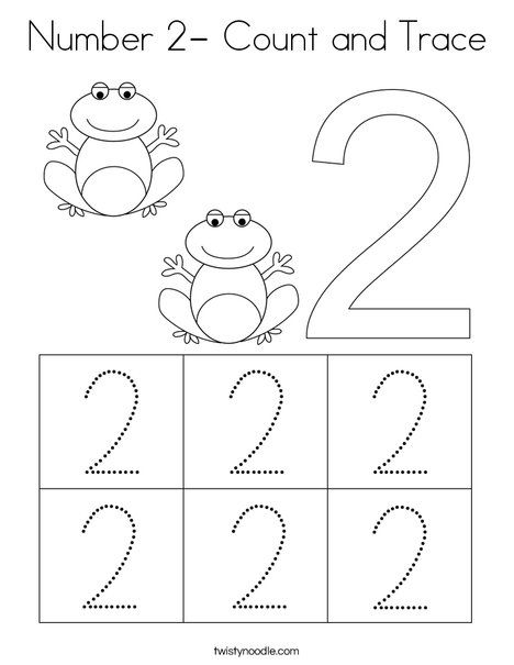 Number 2 Count And Trace Coloring Page Twisty Noodle Kids Worksheets Preschool Numbers Preschool Letter Activities Preschool