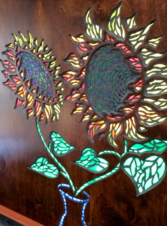 Patented Mosaic Stained Glass Art and Wood - Sunflower Bouquet