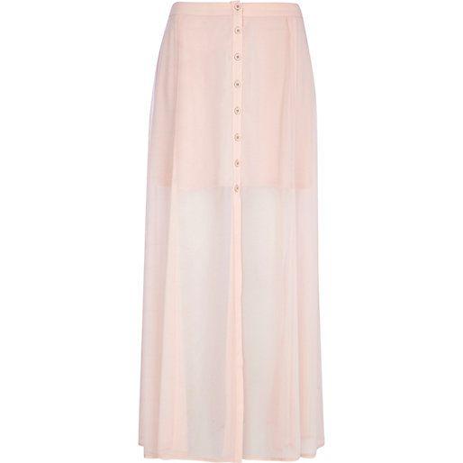 Light pink chiffon button through maxi skirt #riverisland