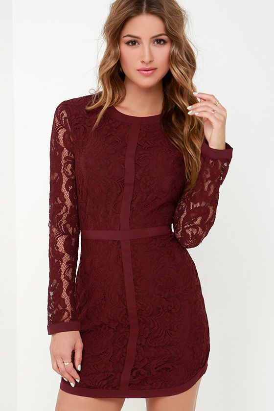 Sweet as Sugar Burgundy Long Sleeve Lace Dress | Sweet, The o'jays ...