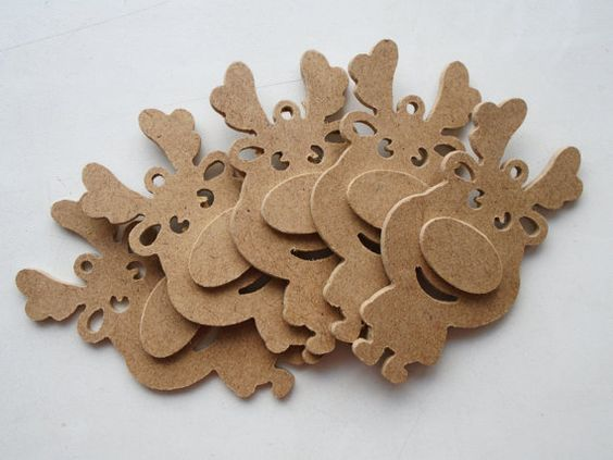 5pcs DEER Wooden Deer Deer shape plywood by FineWoodWorld on Etsy