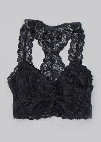 Racerback Lace Bandeau Bralette - Black