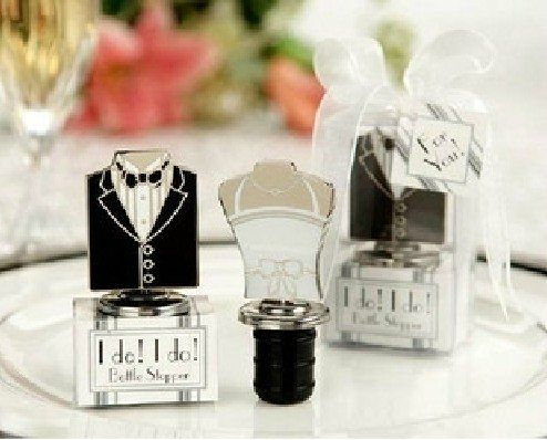 $75.49-$179.76 You're certainly quite a pair, so choose this pair of wedding themed wine bottles stoppers as stylish favors for your celebrationYour wedding day is the day to look your best - and the dress and tux surely play a major role in making it all come together. So why not share a whimsical reminder of your gorgeous wedding attire with these exclusive wine stopper sets? Each set contains ...