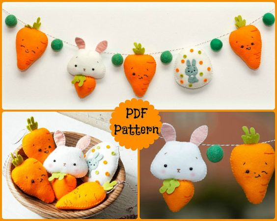 PDF. Easter garland. Bunny, Carrots and Easter Egg. Plush Doll Pattern, Softie Pattern, Soft felt Toy Pattern.