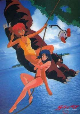 From a  shitajiki, or pencil board. I wanna be Kei and Yuri on tropical vacation.  Classic Dirty Pair pencil boards
