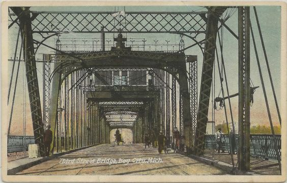 https://flic.kr/p/eRFcUR | CEN Bay City MI 1915 3rd Street Bridge wood & iron swing-span toll bridge constructed largely for the convenience HUGE Sage and McGraw Lumber Company