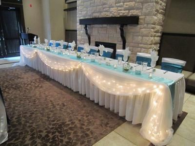 Wedding Head Special Table Decor Kit supplies -white fabric & lights swag bridal   eBay $35
