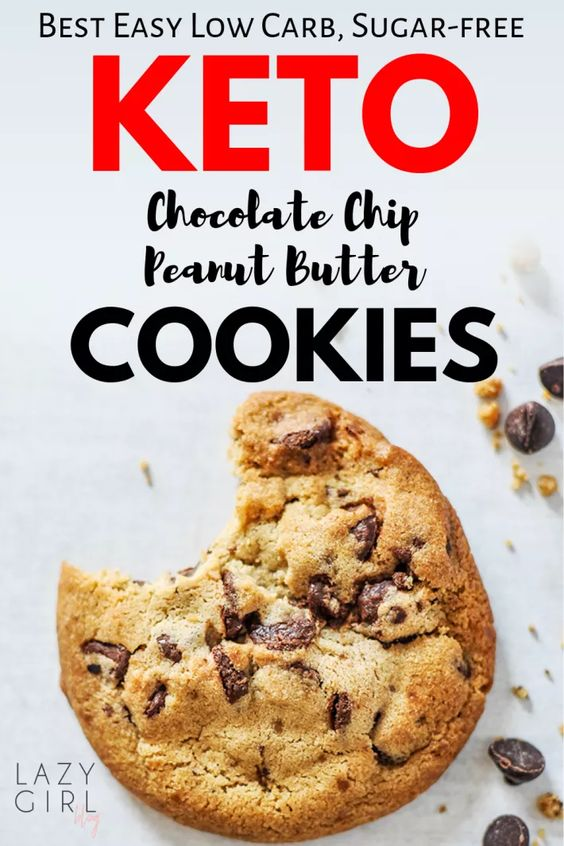 Easy Low Carb Keto Chocolate Chip Peanut Butter Cookies - Lazy Girl