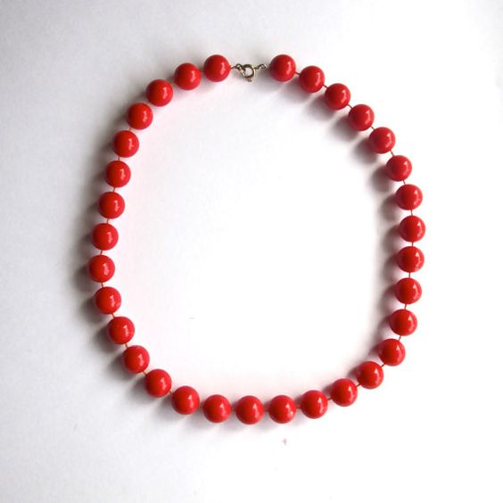 Vintage Cherry Red Beaded Necklace / Plastic Sphere by goldeluxe, $19.00 #Jewelry