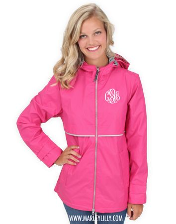 Monogrammed Hot Pink New England Rain Jacket | Perfectly Preppy