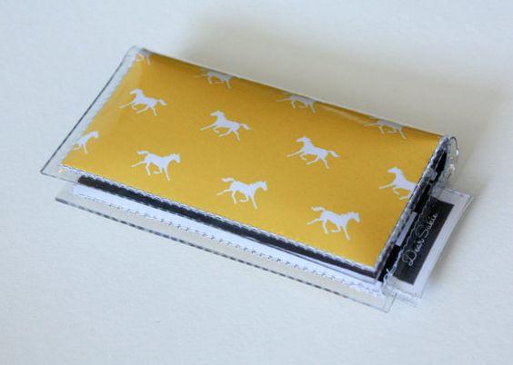 Mini Card Holder - Daydream / Dear Sukie, mini card, moo card, small wallet, snap, vinyl, paper, cute wallet, ponies, horses, yellow, stripe