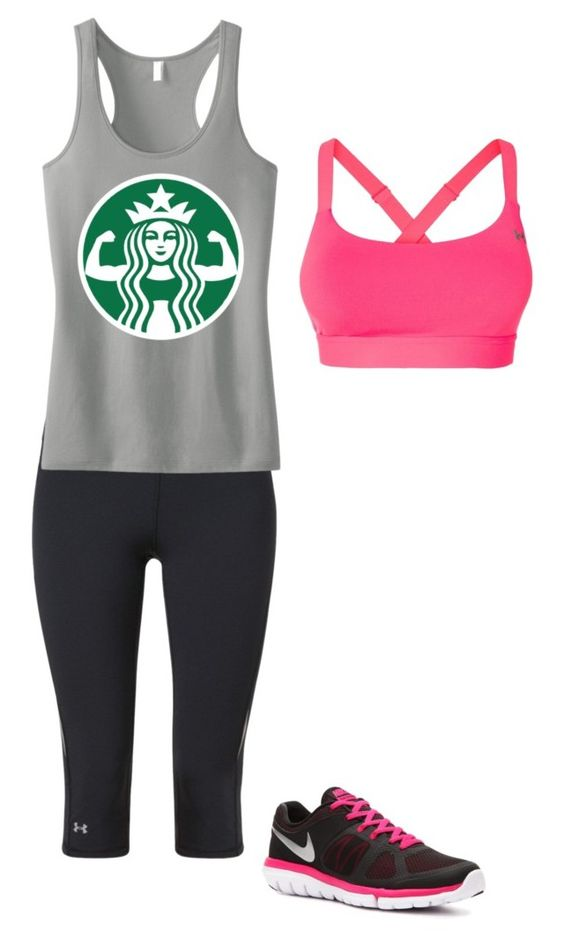 """""""I work out"""" by starbucks-babee ❤ liked on Polyvore featuring Under Armour and NIKE"""