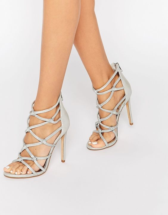 Dune Memphiss Silver Metallic Caged Heeled Sandals | W h i t e ...